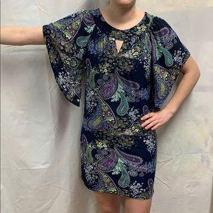 Multi-color paisley mini dress